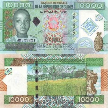 اسکناس 10000 فرانک - یادبود پنجاهمین سالگرد بانک و نشر اسکناس گینه - گینه 2010
