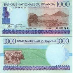 اسکناس 1000 فرانک - رواندا 1998 سریال بالا چپ عریض
