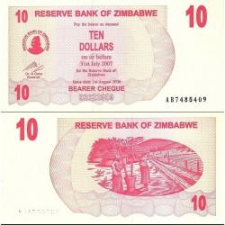 اسکناس 10 دلار - زیمباوه 2007