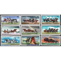 9 عدد تمبر بسیار زیبای اسبها  - مجارستان 1968