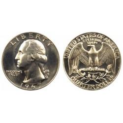 سکه 25 سنت - کوارتر - نیکل مس - تصویر جرج واشنگتن - آمریکا 1967 غیر بانکی