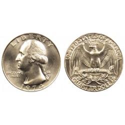 سکه 25 سنت - کوارتر - نیکل مس - تصویر جرج واشنگتن - آمریکا 1974 غیر بانکی