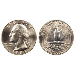 سکه 25 سنت - کوارتر - نیکل مس - تصویر جرج واشنگتن - آمریکا 1984 غیر بانکی