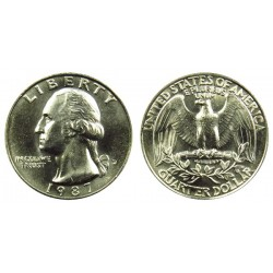 سکه 25 سنت - کوارتر - نیکل مس - تصویر جرج واشنگتن - آمریکا 1987 غیر بانکی