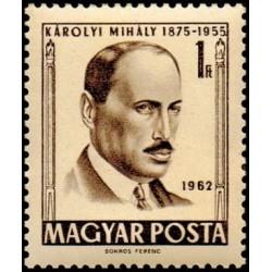 1 عدد تمبر یادبود میهالی کارولی - سیاستمدار - مجارستان 1962