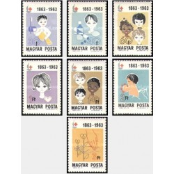 7 عدد تمبر صدمین سالروز صلیب سرخ بین المللی - مجارستان 1963