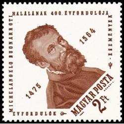 1 عدد تمبر چهارصدمین سالروز تولد میکلانژ - مجسمه ساز نقاش معمار - مجارستان 1964