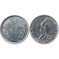 سکه 2.5 لیر - ترکیه 1964 غیر بانکی