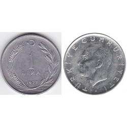 سکه 1 لیر - آلیاژ Acmonital- ترکیه 1977 غیر بانکی