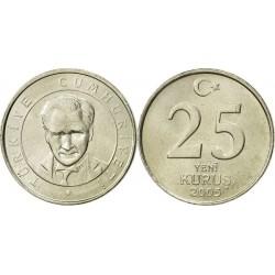 سکه 25 کروز - نیکل مس - ترکیه 2005 غیر بانکی