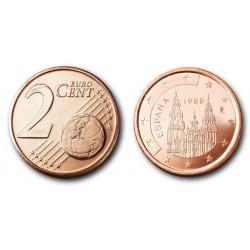 سکه 2 سنت یورو - مس روکش فولاد - اسپانیا 1999 غیر بانکی