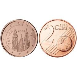 سکه 2 سنت یورو - مس روکش فولاد - اسپانیا 2001 غیر بانکی