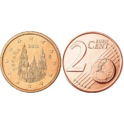 سکه 2 سنت یورو - مس روکش فولاد - اسپانیا 2010 غیر بانکی