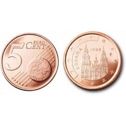 سکه 5 سنت یورو - مس روکش فولاد - اسپانیا 1999 غیر بانکی