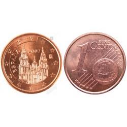 سکه 1 سنت یورو - مس روکش فولاد - اسپانیا 2007 غیر بانکی