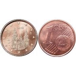 سکه 1 سنت یورو - مس روکش فولاد - اسپانیا 2012 غیر بانکی