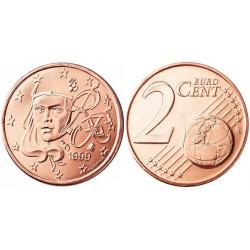 سکه 2 سنت یورو - مس روکش فولاد -فرانسه 1999 غیر بانکی