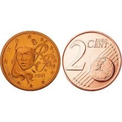 سکه 2 سنت یورو - مس روکش فولاد -فرانسه 2001 غیر بانکی