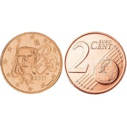 سکه 2 سنت یورو - مس روکش فولاد -فرانسه 2011 غیر بانکی