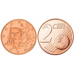 سکه 2 سنت یورو - مس روکش فولاد -فرانسه 2012 غیر بانکی