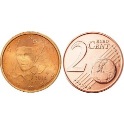 سکه 2 سنت یورو - مس روکش فولاد -فرانسه 2016 غیر بانکی