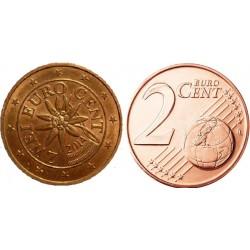 سکه 2 سنت یورو - مس روکش فولاد - اتریش 2014 غیر بانکی