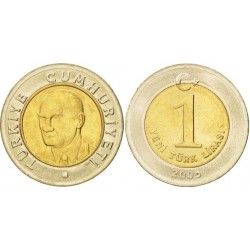 سکه 1 لیر - بیمتال  - ترکیه 2005 غیر بانکی