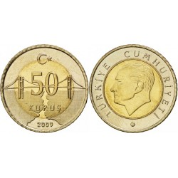 سکه 50 کروز - بیمتال  - ترکیه 2009 غیر بانکی