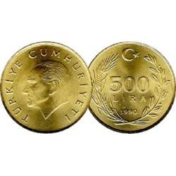 سکه 500 لیر - آلومینیوم برنز  - ترکیه 1990 غیر بانکی