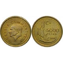 سکه 5000 لیر - برنج - ترکیه 1998 غیر بانکی