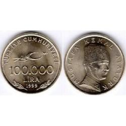 سکه 100000 لیر- یادبود 75مین سالگرد جمهوری - آتاتورک- ترکیه 1999 غیر بانکی