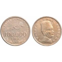 سکه 100000 لیر- یادبود 75مین سالگرد جمهوری - آتاتورک- ترکیه 2000 غیر بانکی