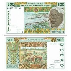 اسکناس 500 فرانک - آفریقای غربی 2002 - بورکینافاسو 2002 - دو رقم اول سریال سال انتشار