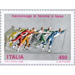 1 عدد تمبر اسکی مسافت طولانی - ایتالیا 1986