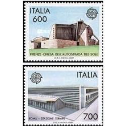 2 عدد تمبر مشترک اروپا - Europa Cept - معماری مدرن - ایتالیا 1987 قیمت 5 دلار