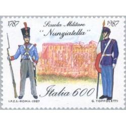 1 عدد تمبر 200 سالگی مدرسه نظامی نانزیاتلا - ایتالیا 1987