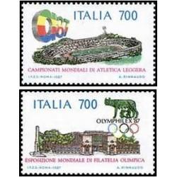 2 عدد تمبر تمثالها و نشانهای ملی - المپیک  - ایتالیا 1987