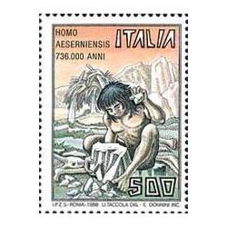 1 عدد تمبر انسانهای نخستین -  Homo Aeserniensis  - ایتالیا 1988