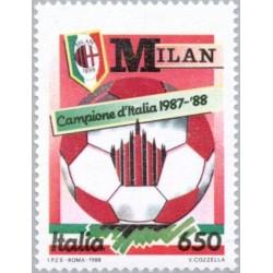 1 عدد تمبر قهرمانان ملی فوتبال - میلان  - ایتالیا 1988