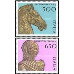 2 عدد تمبر مجسمه های برنزی  - ایتالیا 1988 قیمت 3.9 دلار