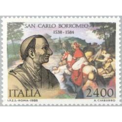 1 عدد تمبر 450مین سالگرد تولد سان کارلو برومئوس - اسقف اعظم کاتولیک رم و یک کاردینال  - ایتالیا 1988 قیمت 5.5 دلار