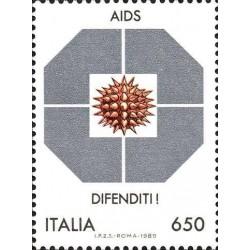 1 عدد تمبر کمپین علیه ایدز  - ایتالیا 1989