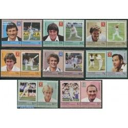 16 عدد تمبر بازیکنان کریکت  - گرندین سنت وینسنت 1984