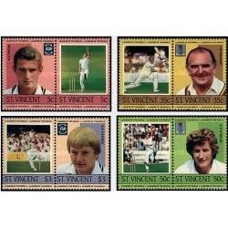 8 عدد تمبر بازیکنان کریکت  - سنت وینسنت 1985