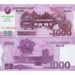اسکناس 1000 وون - یادبود هفتادمین سالگرد جمهوری خلق کره - 2008 سورشارژ 2018 - کره شمالی 2018