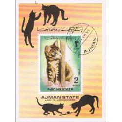 مینی شیت گربه ها - با مهر CTO - پست هوائی - عجمان 1972