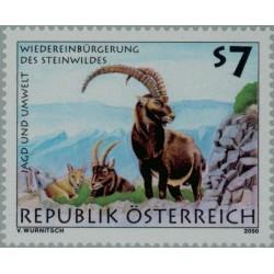 1 عدد تمبر شکار و محیط - اتریش 2000