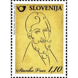1 عدد تمبر دویستمین سالگرد تولد استانکو وارز - شاعر  - اسلوونی 2010 ارزش روی تمبر 1.1 یورو