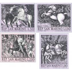 4 عدد تمبر تابلو نقاشی اثر پائولو اوسلو - سان مارینو 1968