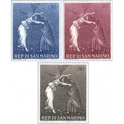 3 عدد تمبر کریستمس - تابلو نقاشی - سان مارینو 1968